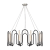 Continuum 10 Light Chandelier In Silvered Graphite With Polished Nickel Accents