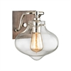 Kelsey 1 Light Vanity In Weathered Zinc With Polished Nickel Accents