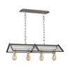 ELK lighting Ridgeview 4 Light Chandelier In Weathered Zinc With Polished Nickel Accents