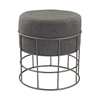 Pewter And Grey Linen Stool