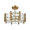 Vindalia 4 Light Semi Flush In Satin Brass With Wood Slats And Curved Glass