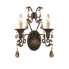 ELK lighting Rochelle 2 Light Sconce In Weathered Mahogany And Amber Crystal