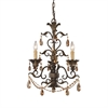 ELK lighting Rochelle 3 Light Chandelier In Weathered Mahogany And Amber Crystal