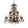 ELK lighting Rochelle 12 Light Chandelier In Weathered Mahogany And Amber Crystal