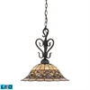 Tiffany Buckingham 1 Light LED Pendant In Vintage Antique