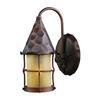 ELK lighting Rustica 1 Light Outdoor Wall Sconce In Antique Copper And Scavo Glass