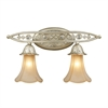 ELK lighting Chelsea 2 Light Sconce In Aged Silver And Beige Frosted Glass