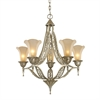 ELK lighting Chelsea 5 Light Chandelier In Aged Silver And Beige Frosted Glass