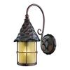 Rustica 1 Light Outdoor Wall Sconce In Antique Copper And Amber Scavo Glass