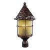 ELK lighting Rustica 3 Light Outdoor Post Lamp In Antique Copper And Amber Scavo Glass