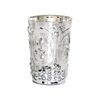 Pomeroy Fleur Embossed Votive In Antique Silver, Antique Silver