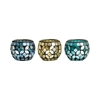 Pomeroy Assorted Pack Of 6 Primavera Votives, Azure,Nautical Blue,Wheat Mosaic