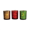 Sentiments Set of 3 Votives, Red Green,Champagne