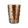 Fleur Embossed Votive In Antique Brown Lustre