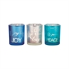 Pomeroy Reflections Set of 3 Votives, Frosted Antique Teal,Silver,Blue