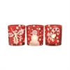 Festive Set of 3 Votives, Red