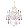 ELK lighting Opulence 5 Light Chandelier In Antique White And Rose Crystal