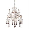 ELK lighting Opulence 9 Light Chandelier In Antique White And Amber Crystal