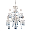 ELK lighting Opulence 9 Light Chandelier In Antique White And Aqua Crystal