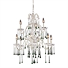 ELK lighting Opulence 9 Light Chandelier In Antique White And Lime Crystal