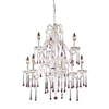 ELK lighting Opulence 9 Light Chandelier In Antique White And Rose Crystal