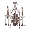 ELK lighting Opulence 2 Light Wall Sconce In Rust And Amber Crystal