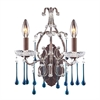ELK lighting Opulence 2 Light Wall Sconce In Rust And Aqua Crystal