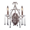 ELK lighting Opulence 2 Light Wall Sconce In Rust And Clear Crystal