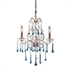 Opulence 3 Light Chandelier In Rust And Aqua Crystal