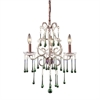ELK lighting Opulence 3 Light Chandelier In Rust And Lime Crystal