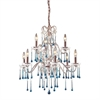 ELK lighting Opulence 9 Light Chandelier In Rust And Aqua Crystal