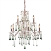 ELK lighting Opulence 9 Light Chandelier In Rust And Lime Crystal