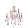 Opulence 9 Light Chandelier In Rust And Rose Crystal