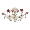 Rosavita 3 Light Semi Flush In Antique White And Pink
