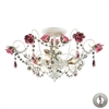 ELK lighting Rosavita 3 Light Semi Flush In Antique White And Pink - Includes Recessed Lighting Kit