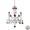 Rosavita 3 Light Chandelier In Antique White And Pink - Includes Recessed Lighting Kit