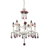 Rosavita 5 Light Chandelier In Antique White And Pink