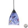 ELK lighting Classico 1 Light Pendant In Dark Rust And Starburst Blue Glass - Includes Recessed Lighting Kit