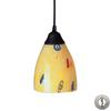 ELK lighting Classico 1 Light Pendant In Dark Rust And Yellow Blaze Glass - Includes Recessed Lighting Kit