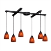 Classico 6 Light Pendant In Dark Rust And Espresso Glass