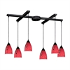 ELK lighting Classico 6 Light Pendant In Dark Rust And Fire Red Glass
