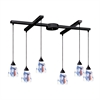 ELK lighting Classico 6 Light Pendant In Dark Rust And Mountain Glass
