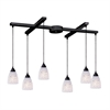 ELK lighting Classico 6 Light Pendant In Dark Rust And Snow White Glass
