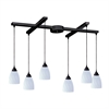 ELK lighting Classico 6 Light Pendant In Dark Rust And Simply White Glass