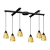 Classico 6 Light Pendant In Dark Rust And Yellow Blaze Glass