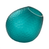 Vivace Cut Glass Horn Vase In Teal