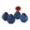 Cut Pebble Vases In Blue - Set of 4