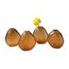 Cut Pebble Vases In Amber - Set of 4