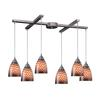 Arco Baleno 6 Light Pendant In Satin Nickel And Coco Glass