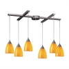Arco Baleno 6 Light Pendant In Satin Nickel And Canary Glass